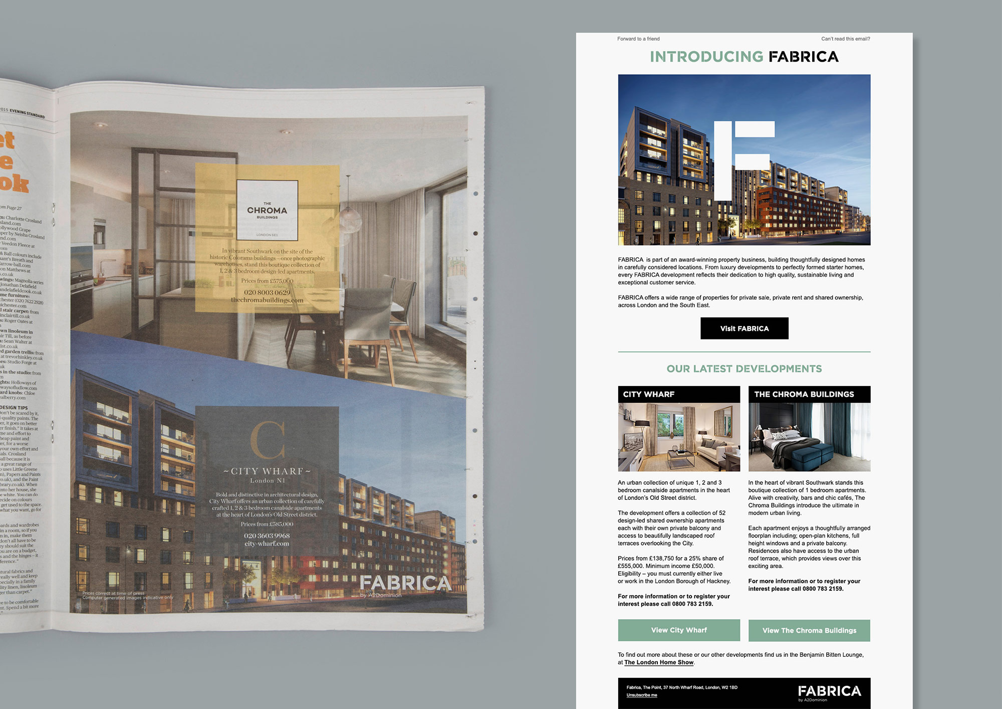 FABRICA press advertising and email